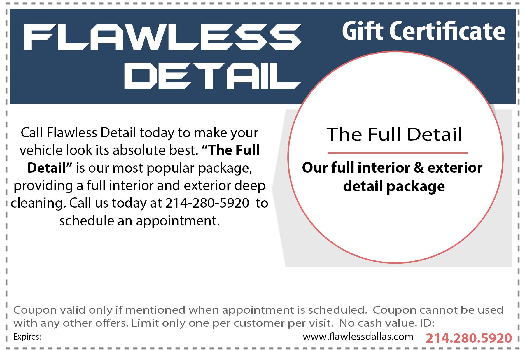 Full Detail Gift Certificate
